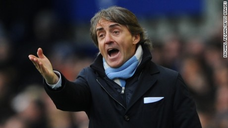 Manchester City Manager Roberto Mancini reacts during the Barclays Premier League match between Everton and Manchester City at Goodison Park on March 16, 2013 in Liverpool, England. (Photo by Michael Regan/Getty Images