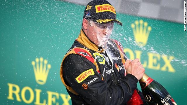 Kimi Raikkonen of Finland and Lotus celebrates after winning the Australian Formula One Grand Prix, Melbourne. March 17, 2013.