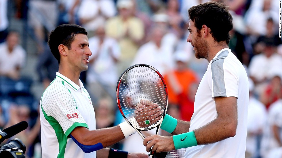 World No.1 Novak Djokovic congratulates Argentina's Juan Martin del Potro on his  4-6 6-4 6-4 victory at Indian Wells. Del Potro will face Rafael Nadal in Sunday's final.