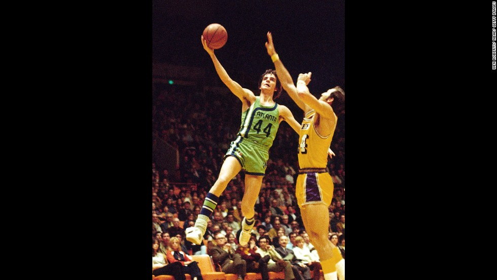 The Fighting Irish weren't the first to look like overgrown leprechauns on the basketball court. Pete Maravich of the Atlanta Hawks goes big in green in a 1971 NBA game.