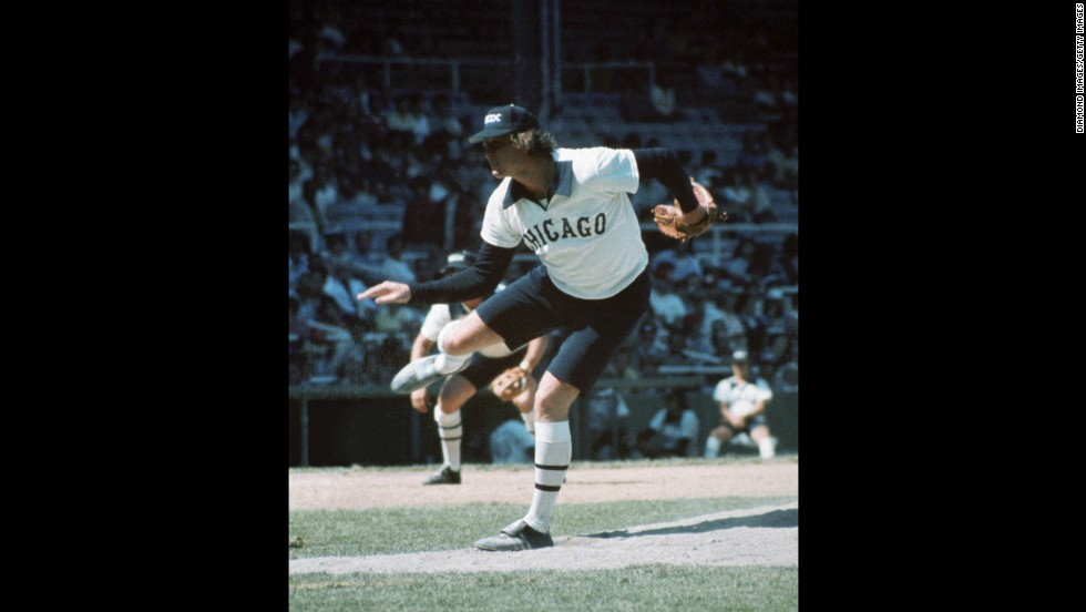 "Bermuda shorts might be airy, but they don't look good on the baseball field. Or anywhere, actually. Pitcher Rich ""Goose"" Gossage of the Chicago White Sox shows off his kneecaps in 1976."