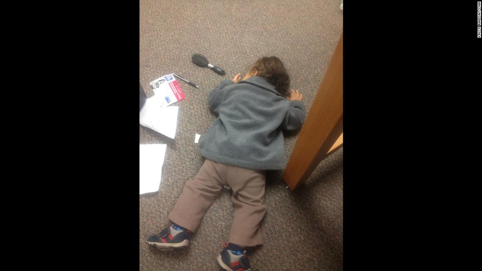 For the most part, I try to focus on school during my son's nap times. Here, due to a child care snafu, Emeka takes a nap in the library. On the floor.