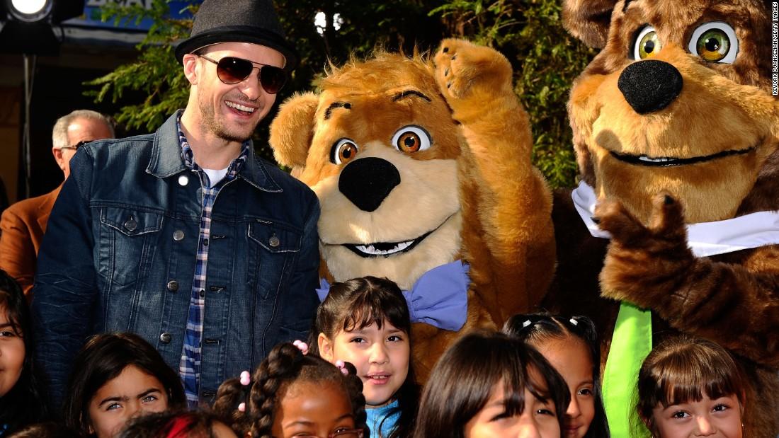 "Timberlake gave a voice to Boo Boo in 2010's live-action comedy ""Yogi Bear."" Dan Aykroyd voiced Yogi."