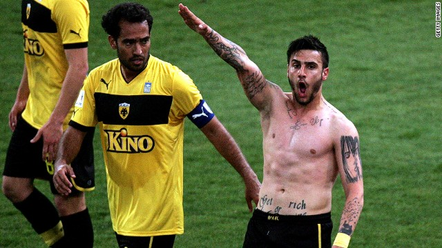 Soccer player scores, gives Nazi salute