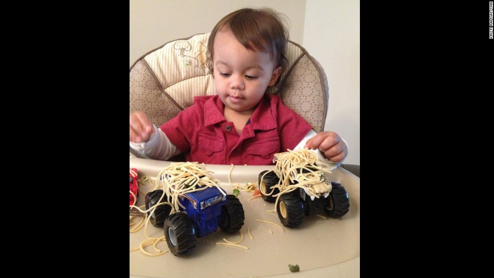 Emeka gets artistic again, this time with dinner. We'll call this one 'Pasta on trucks.'