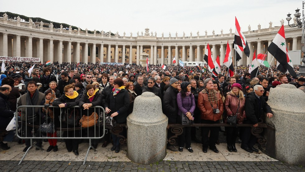 Crowds gather in St Peter's Square ahead of Pope Francis' arrival for his inauguration Mass in Vatican City on Tuesday, March 19. Some 150,000 to 200,000 people turned out, a Vatican spokesman said.