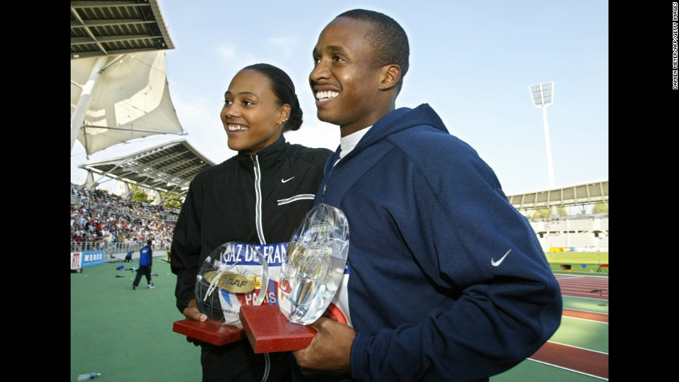 Track stars Marion Jones and Tim Montgomery went from power couple to notorious dopers after admitting to using performance-enhancing drugs in 2007. They had a child together, Tim, Jr., and have since split. Pictured, Jones and Montgomery pose with their trophies after their races, on September 14, 2002, during the IAAF Grand-Prix Final at Paris' Charlety Stadium.