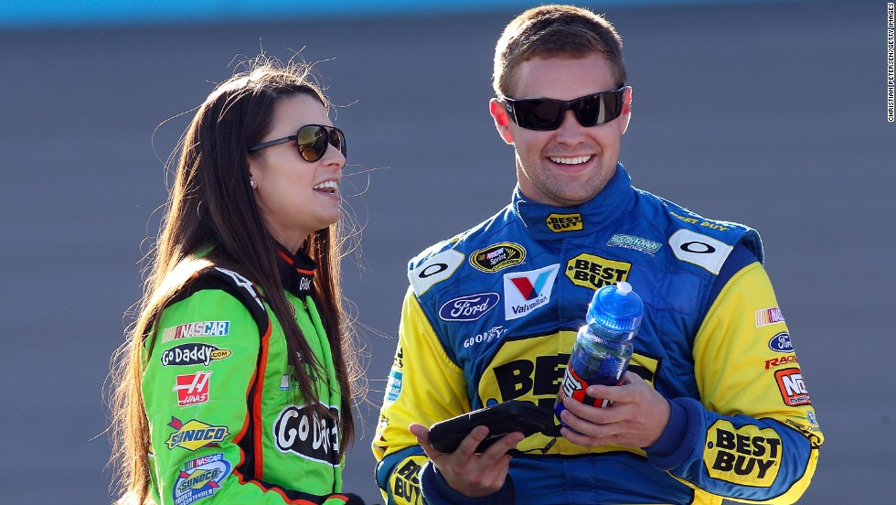 "NASCAR drivers Danica Patrick and Ricky Stenhouse Jr. got the nickname ""<a href=""http://bleacherreport.com/articles/1538184-does-danica-patrick-and-ricky-stenhouse-jrs-relationship-matter-on-the-track"" target=""_blank"">Stenica</a>"" after they made their relationship public. The couple will be competing against each other for the Sprint Cup this year. Pictured, the two talk during the Sprint Cup Series Subway Fresh Fit 500 in March 2013."