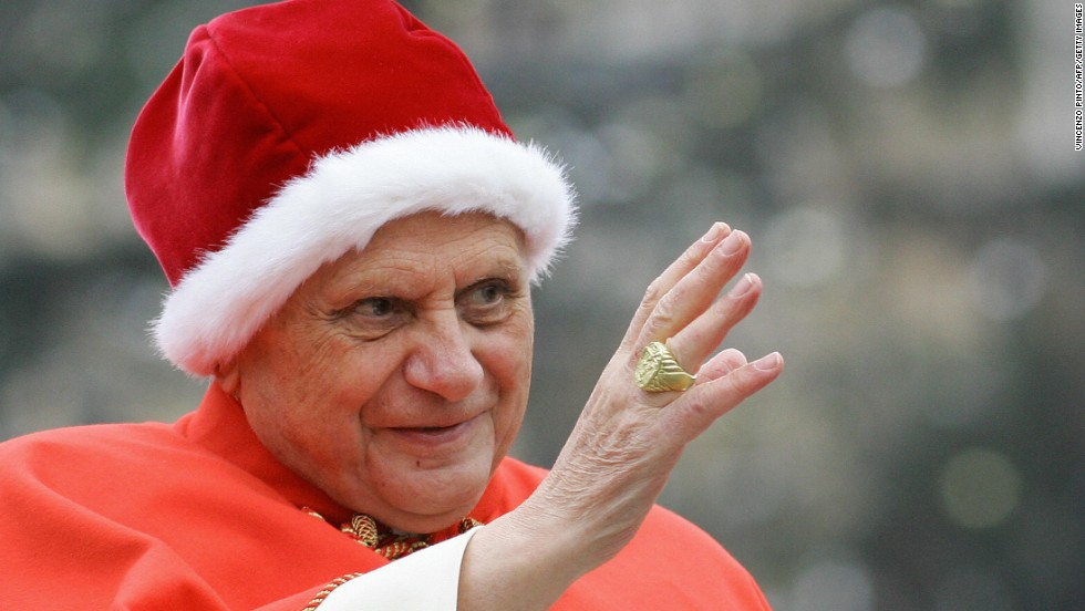 Here, Pope Benedict XVI wears the camauro, a red bonnet worn only by the pope, in December 2005. It is a winter hat made of wool or velvet and trimmed with ermine fur. Pope Benedict instigated its resurgence in the active set of papal vestments.