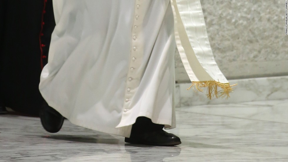 "Here, Pope Francis wears a cassock. The cassock, also called a soutane, can be worn by all clerics, Beck said, but the papal one is white. According to Beck, legend has it that Pope Pius V was used to wearing a white religious habit and he wanted to keep the tradition going. ""And so ever since,"" Beck said, ""it has remained white."""