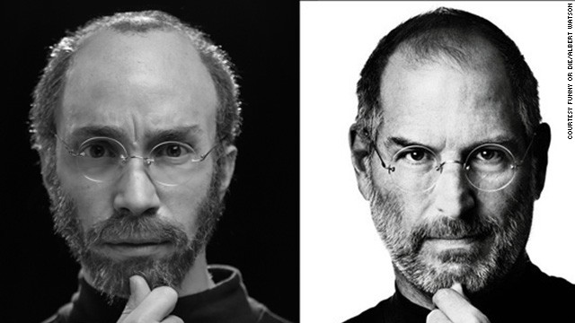 "Funny or Die plans to release a spoof Steve Jobs biopic starring former ""I'm a Mac"" actor Justin Long, in character at left."