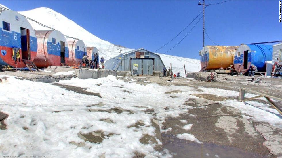 Expeditions to the summit of Mount Elbrus, a 18,510-foot peak in Russia's Caucasus Mountains, can take shelter in these huts.