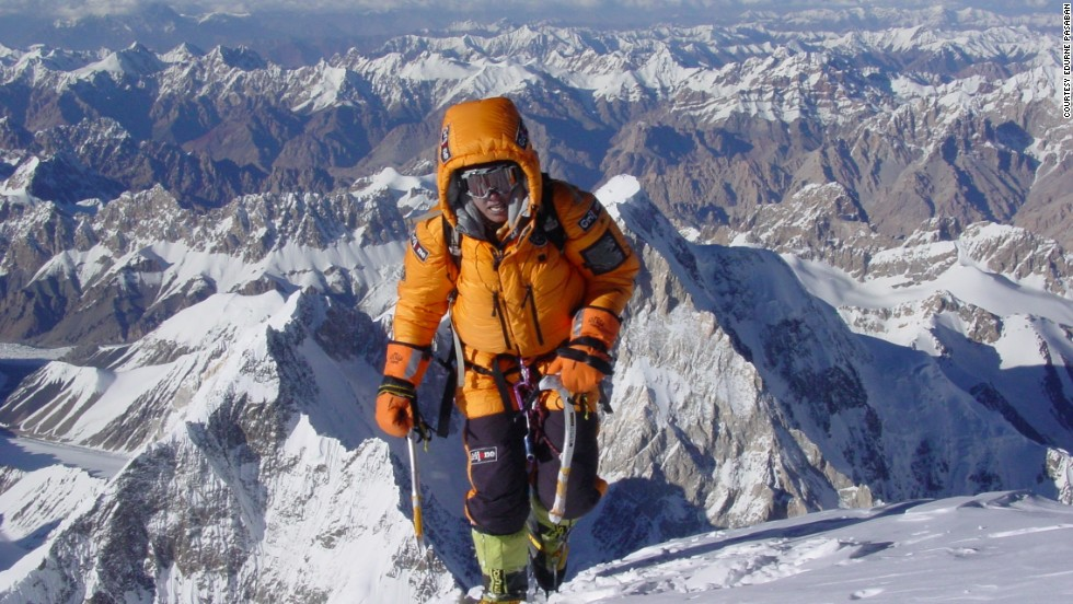 "In 2011, Pasaban attempted to climb Everest for a second time. She decided to skip the artificial oxygen, but could not reach the summit. <br /><br />""This is an outstanding challenge,"" she says. ""I will not like to finish my career without having achieved it, but I have to find the right moment in my professional life to do it. It is a dream.""<br /><br />Pasaban pictured at the summit of K2, the world's second highest mountain, in 2004. This, like all mountains except Everest, she climbed without artificial oxygen."