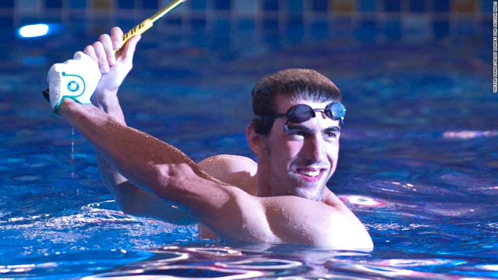 Michael Phelps, seen here at a promotional event in China in 2010, has been learning to play golf since his retirement from swimming.