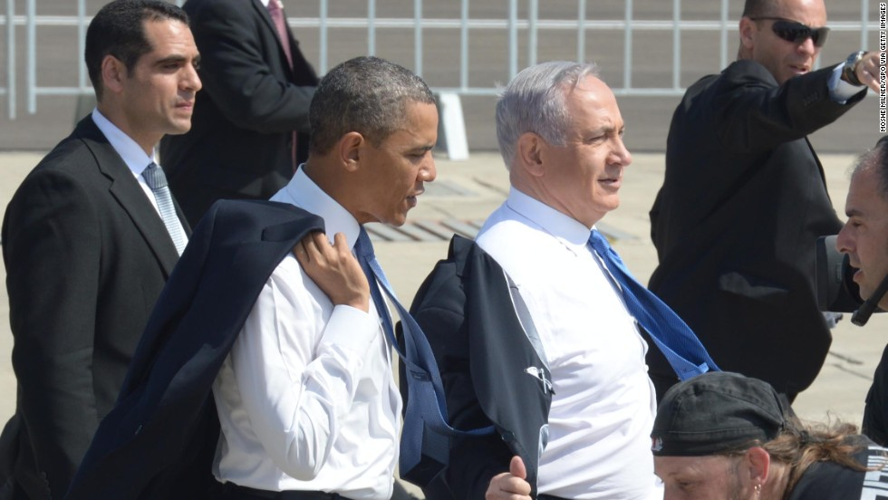 Obama accompanies Israeli President Benjamin Nethanyahu at Ben Gurion Airport on March 20 in a handout image from the Government Press Office of Israel.