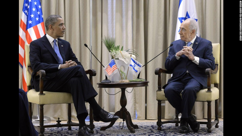 Israeli President Shimon Peres welcomes Obama to his residence on Wednesday, March 20, in Jerusalem.