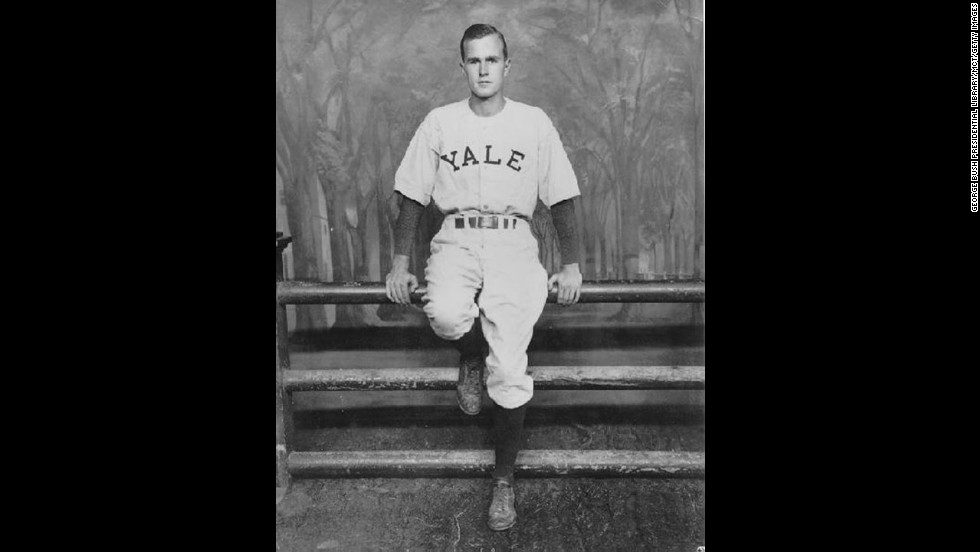 During his time at Yale University, President George H.W. Bush captained the baseball team, playing as a first baseman. The Yale baseball team would go on to compete in the first two College World Series. Bush was also a member of the Yale cheerleading squad.