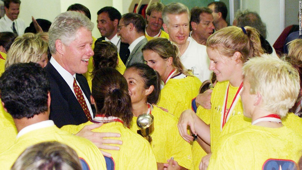 Bill Clinton has long showed support for various sports teams, appearing with the U.S. women's soccer team in their locker room after defeating China. Clinton also recently appeared in the Louisville locker room after its Big East tournament win over Villanova.