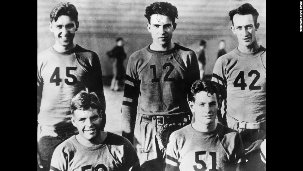 "President Richard Nixon, number 12, played football while at Whittier College, where he also played basketball and ran track. Nixon was the brains behind ""Nixon's Play,"" the infamous play that he drew up for the Washington Redskins' 1971 first-round playoff game against the San Francisco 49ers. The play resulted in a 13-yard loss for the Redskins on the way to a 24-20 loss."