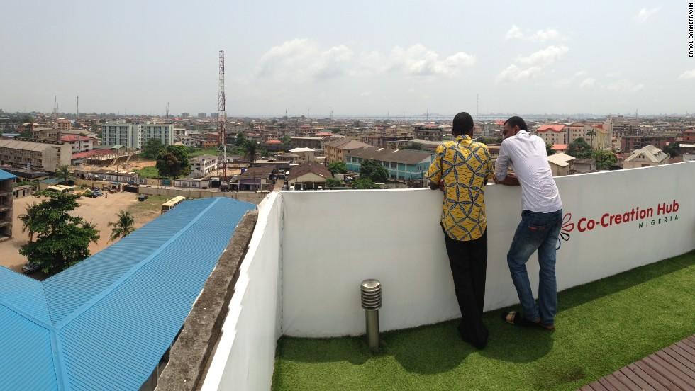 Tijani says the rooftop space is designed to remind members that what they're working on should be relevant to the people outside in the real, non-virtual world.