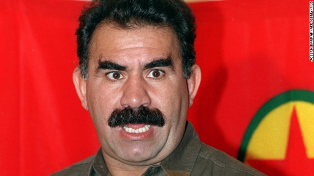 Kurdish rebel chief Abdullah Ocalan in Masnaa on the Lebanon-Syria border on 28 September 1993.