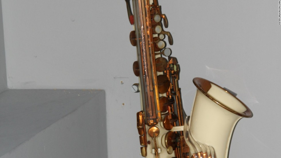 In his early teens Bowie became keen on the jazz of John Coltrane. For Christmas 1961 his father bought him this white acrylic Grafton alto sax. It used new plastics technology, and cost £55, about half the cost of a brass instrument.