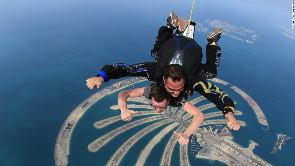 One of the best views of the Palm Jumeirah is from the air. Skydive Dubai offers jumps from 13,000 feet in tandem, meaning you can enjoy the views while someone else pulls the parachute cord. Two thumbs up, indeed.
