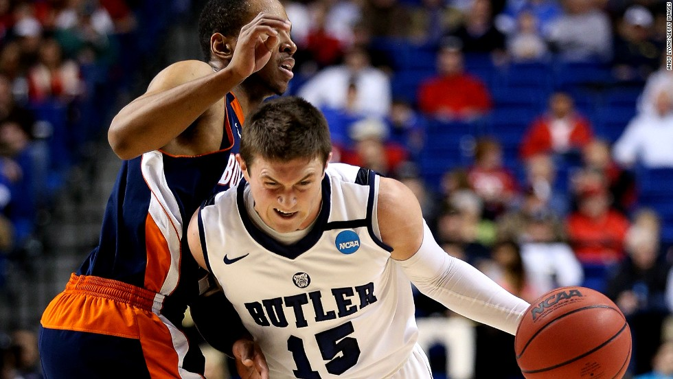 Butler's Rotnei Clarke takes the ball down court during the game against Bucknell on March 21.