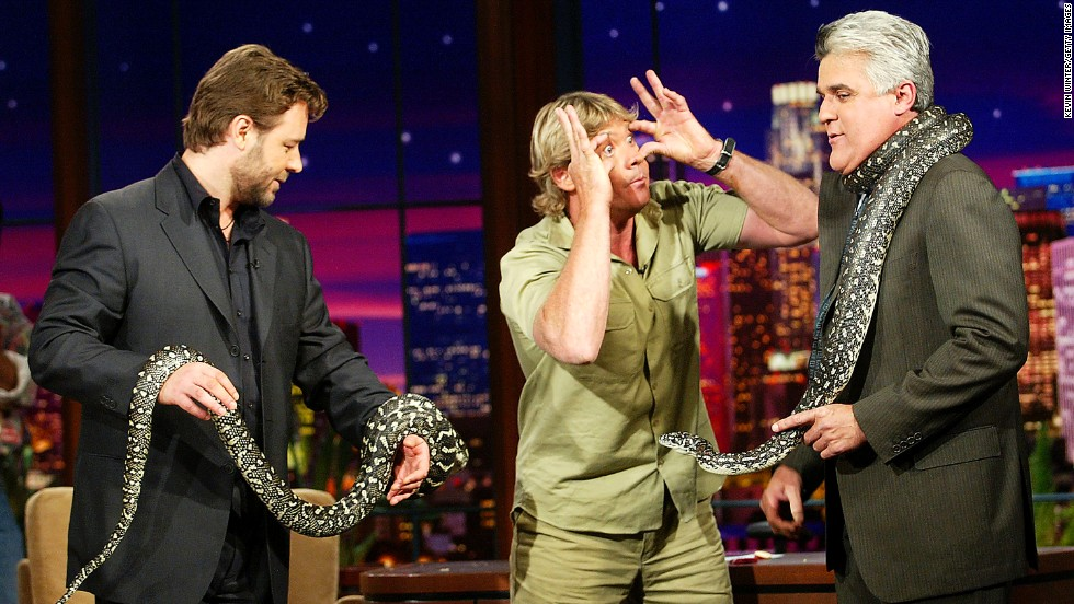 "Actor Russell Crowe, left, and ""Crocodile Hunter"" Steve Irwin with Leno on November 6, 2003."