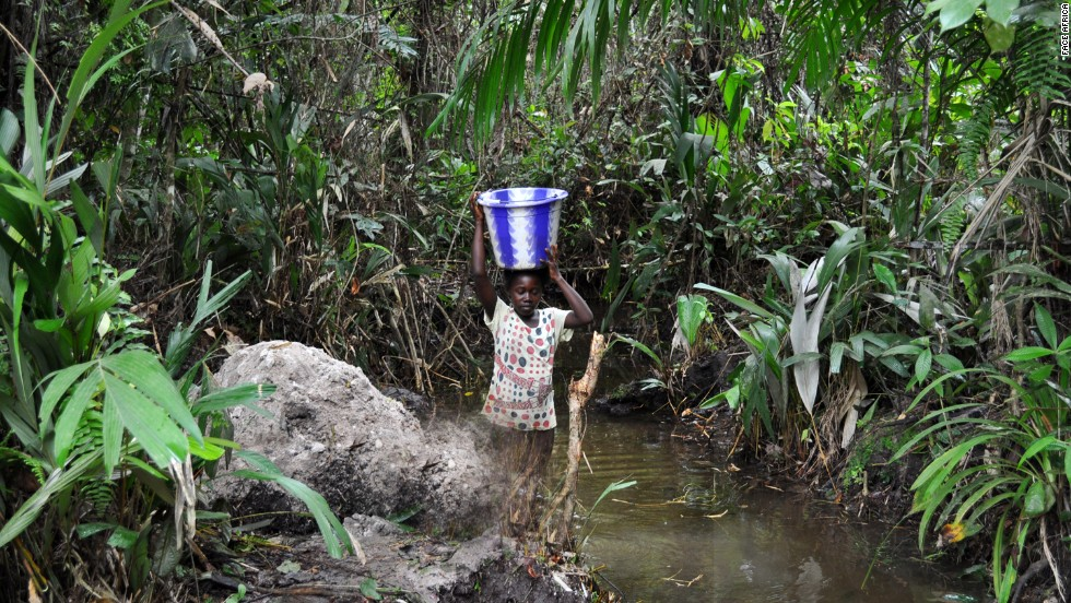 Jones says that many young girls are missing out on school as they have to walk long distances to fetch water.