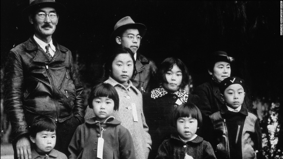 During World War II, Japanese-Americans living on the West Coast were rounded up and placed into internment camps. About 200,000 Japanese-Americans were kept behind barbed-wire. In 1988, President Ronald Reagan apologized to the families of the victims for the internment and signed legislation to provide reparations.