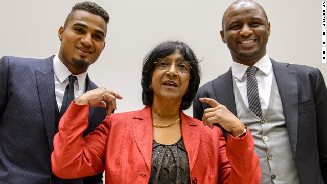 Kevin-Prince Boateng (L) and Patrick Vieira (R) with United Nations High Commissioner for Human Rights Navi Pillay