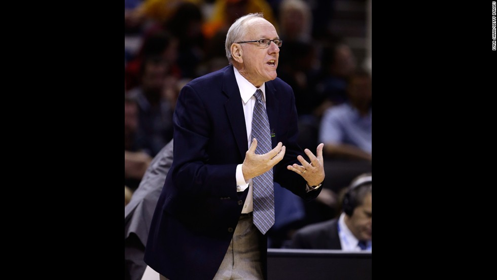 Head coach Jim Boeheim of Syracuse gestures from the sideline in the first half against Montana on March 21.