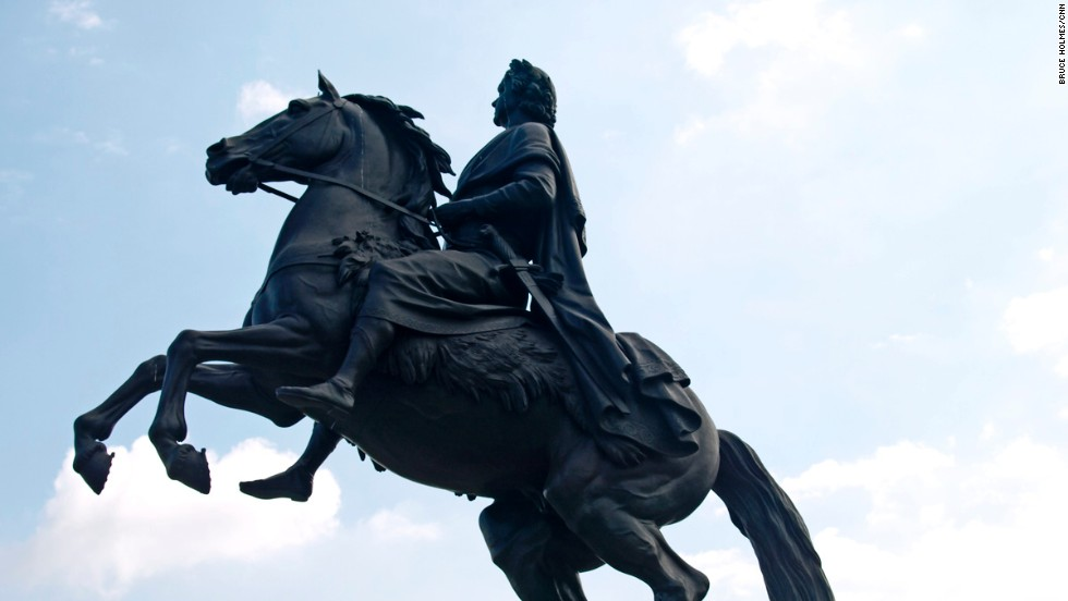 Completed in 1782, the statue known as The Bronze Horseman represents former czar Peter the Great as a Roman hero astride a rearing steed. The statue has become a symbol of St. Petersburg. Protected by sandbags and a wooden shelter, it withstood the Nazis' 900-day siege of (then) Leningrad in World War II.