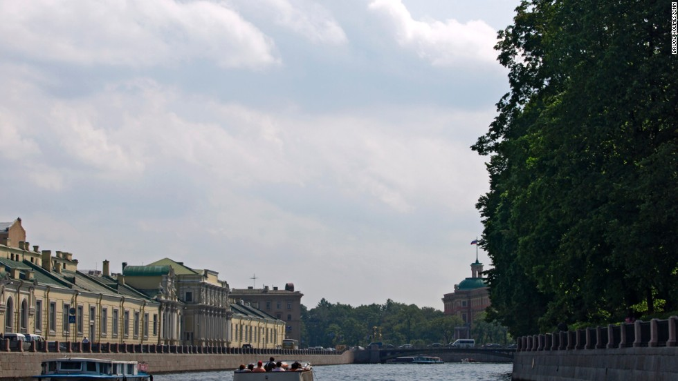 A popular way to see St. Petersburg is on one of many tourist boats that ply the canals and the River Neva. Tours pass beneath some of the city's 365 bridges before cruising through the center of town to the starting point near Nevsky Prospekt.