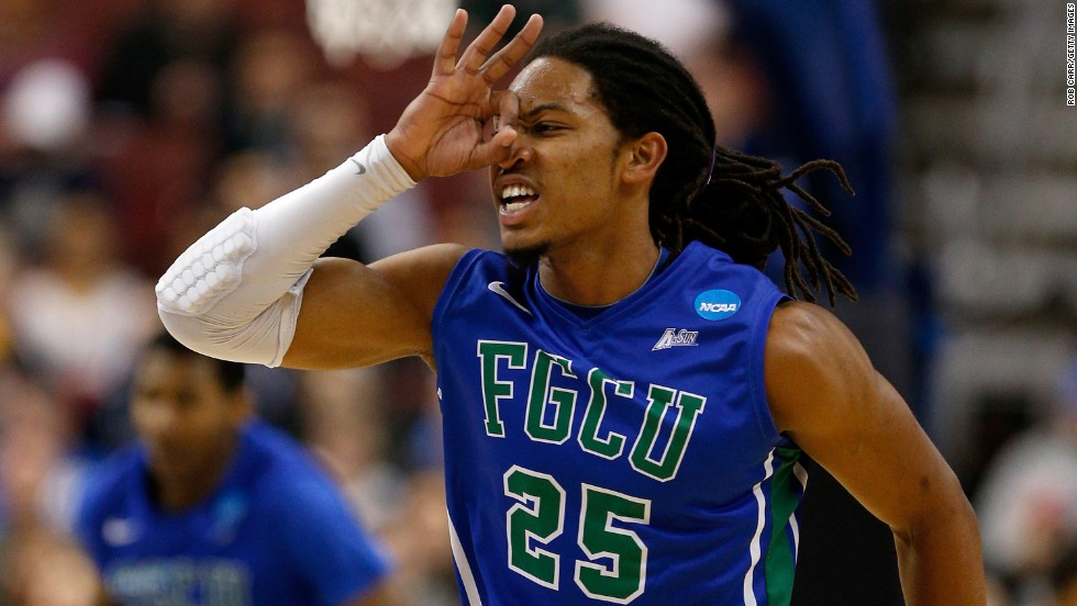 Sherwood Brown of the Florida Gulf Coast Eagles reacts after making a three-point basket against the Georgetown Hoyas on March 22 in Philadelphia.