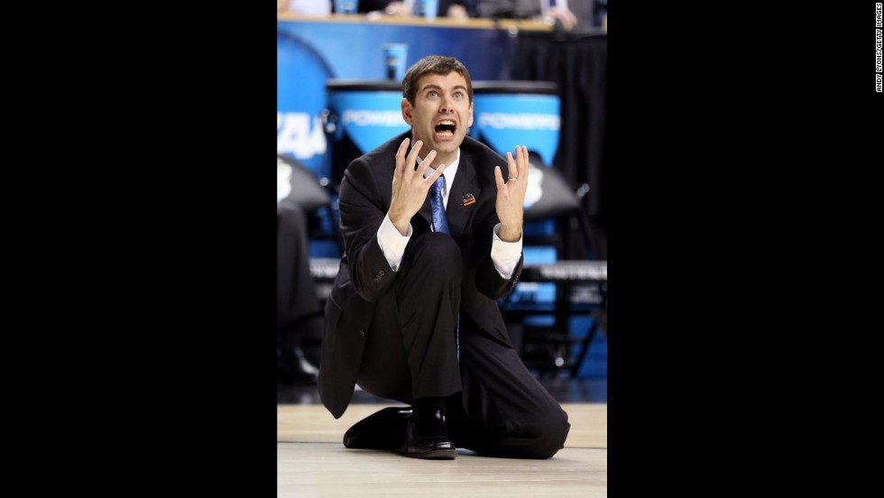 Head coach Brad Stevens of Butler reacts after a crucial basket is reversed and a foul is called against Marquette on March 23.