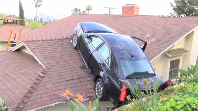 Man loses control of car, lands on roof