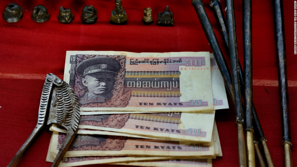Old Burmese money shows the picture of Aung San, a leader in Burma's struggle for independence and father of Nobel Prize winner Aung San Suu Kyi. This money was abolished by Gen. Ne Win, who ruled over Burma for 26 years.