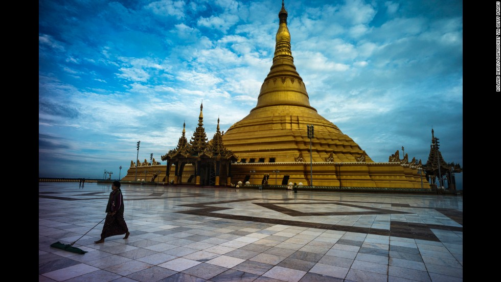 The Uppatasanti Pagoda at the center of Naypyidaw is a replica of the Shwedagon Pagoda in Yangon, the former capital. It's 30 centimeters, or about 1 foot, shorter than the original and was completed in 2009.
