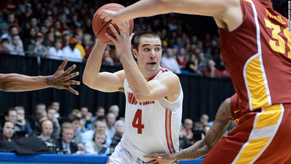 Aaron Craft of the Ohio State Buckeyes handles the ball against the Iowa State Cyclones on March 24 in Dayton, Ohio. The Buckeyes won 78-75.