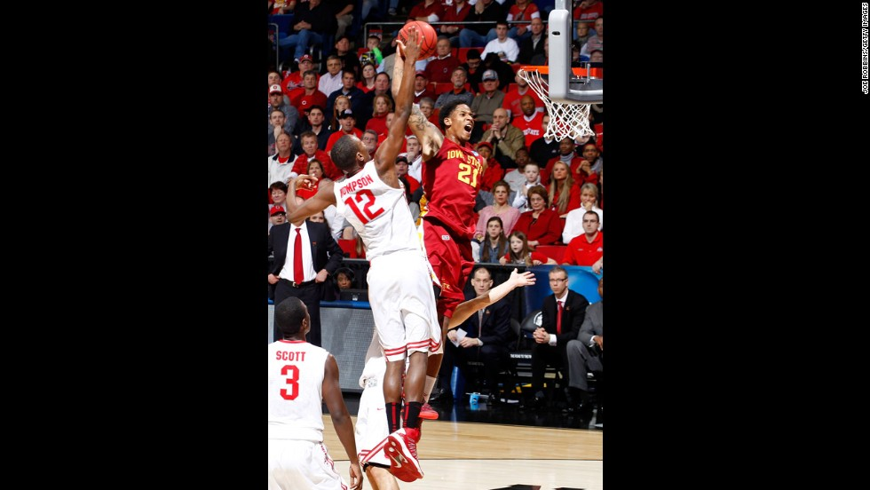 Will Clyburn of Iowa State goes up for a dunk against Sam Thompson of Ohio State on March 24.