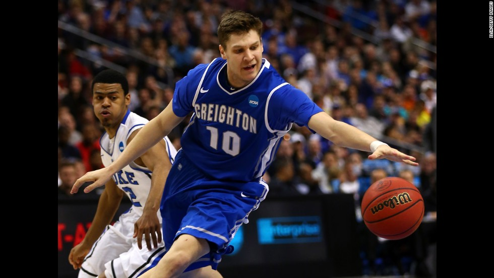 Grant Gibbs of Creighton dribbles the ball past Quinn Cook of Duke on March 24.