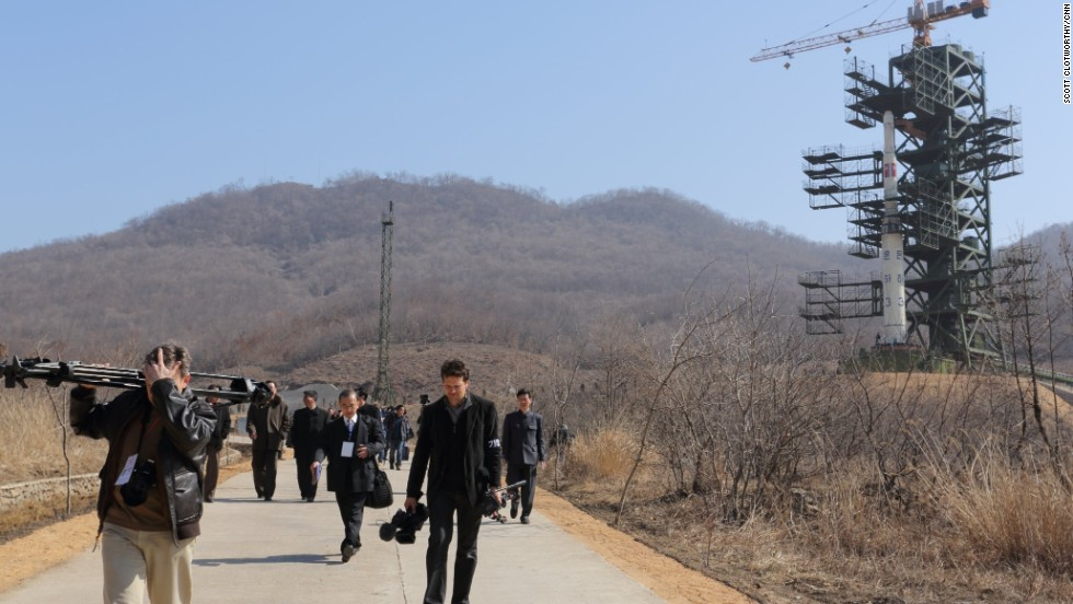In April 2012, Pyongyang launched a long-range rocket that broke apart and fell into the sea. Here, the UNHA III rocket is pictured on its launch pad in Tang Chung Ri, North Korea.