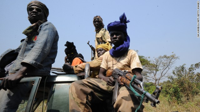 Seleka rebel coalition members in a village north of the Central African Republic capital on January 10, 2013.