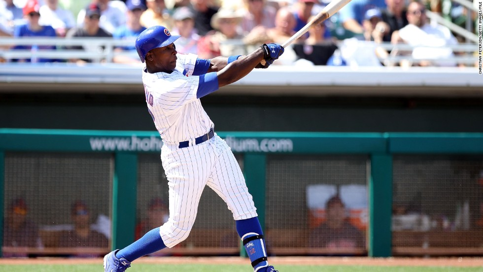 Alfonso Soriano of the Chicago Cubs bats against the Cleveland Indians during a spring training game last spring.