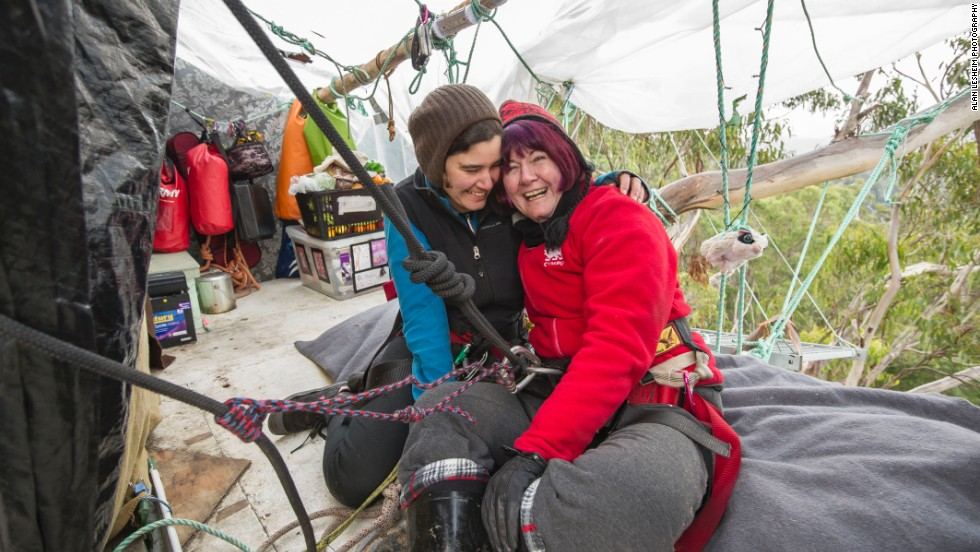 Miranda's mother, Glenys, braved the 60-meter ascent by rope to visit her daughter.