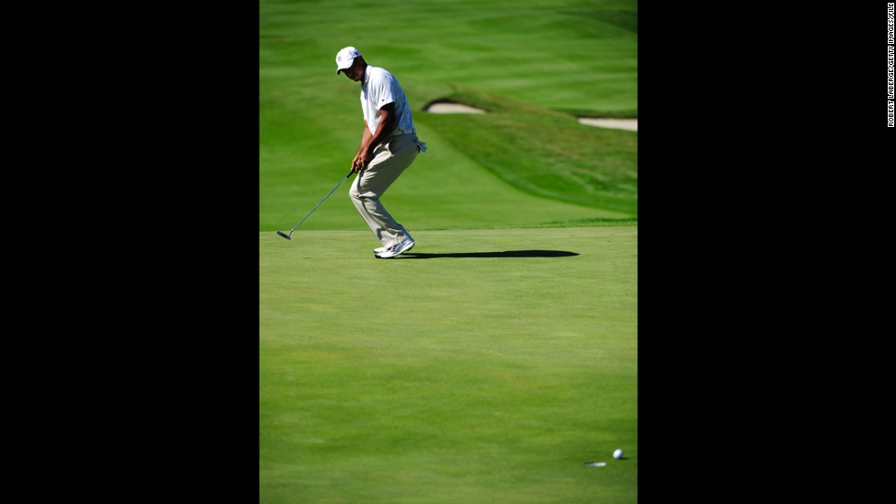 Woods misses a putt at the Frys.com Open in October 2011. That month, he fell out of golf's top 50 for the first time in almost 15 years. Woods reportedly lost millions in endorsements after sponsors ended their ties with him in the wake of a sex scandal.