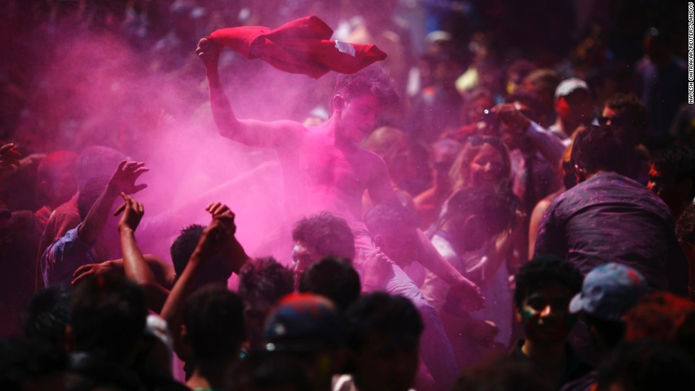 People celebrate Holi in Kathmandu, Nepal, on March 26.