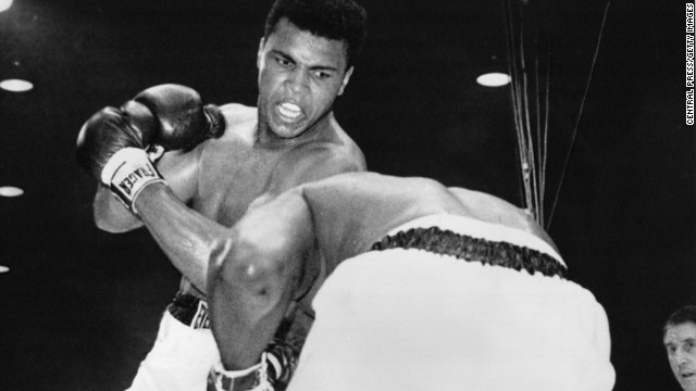 Cassius Clay (later to change his name to Muhammad Ali)  fights Sonny Liston in Miami in February 1964.